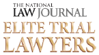 Logo of National Journal Elite Trial Lawyers with black and gold text
